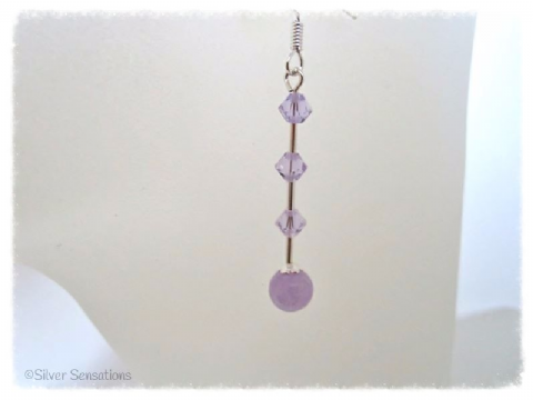 Plum Lavender Jade & Swarovski Crystals Sterling Silver Slim Drop Earrings